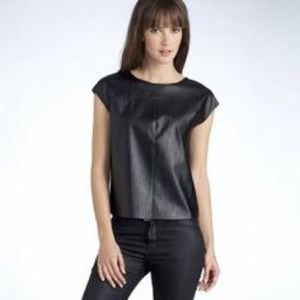 Like leather short sleeve top.