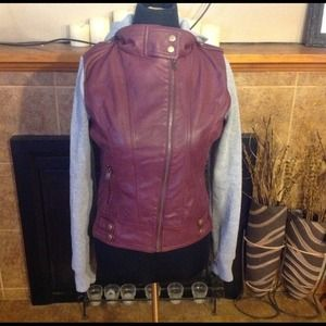 Jacket with faux leather and hood