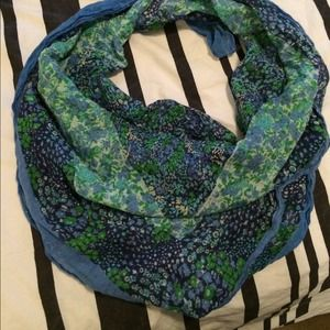 Accessories - Blue and Green Floral Square Scarf