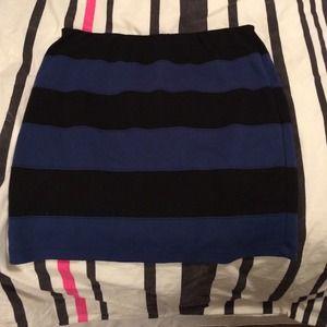 Forever 21 black and blue stripe bodycon skirt