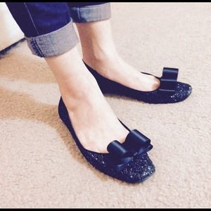 Kate spade New York glittery ballet flats in black