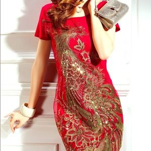 Dresses & Skirts - Red embroidery dress