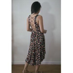 Strappy open back floral dress