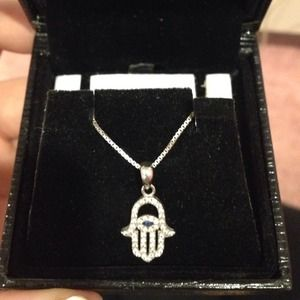 Jewelry - Sterling Silver Hamsa Hand Necklace!