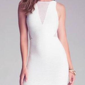 Bebe White V Mesh Dress