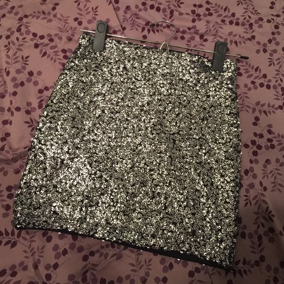 H&M - Black & silver sequin mini skirt from Anika's closet on Poshmark