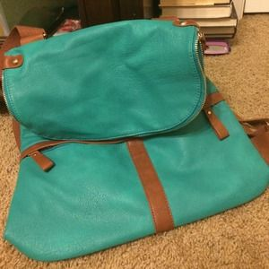 Handbags - turquoise and tan purse/backpack