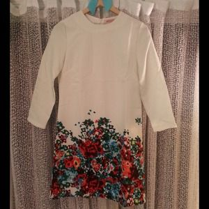 White 3/4 Sleeve Floral Dress (Red, Green & Blue)