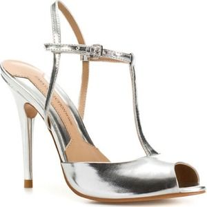 Zara silver t-strap open toe pumps sz 8