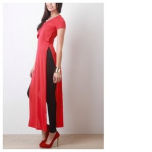 Red Overlap Maxi Top