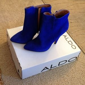 Blue suede Aldo booties
