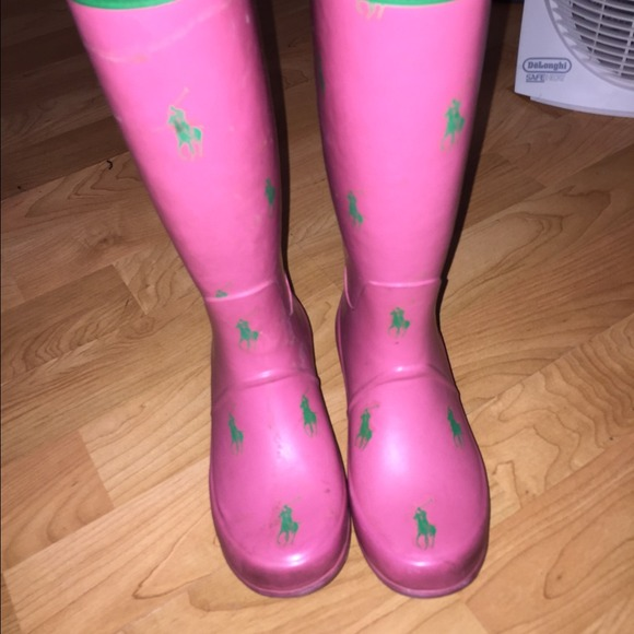 and green polo rain boots