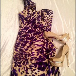 Dresses & Skirts - NWOT - One Shoulder Purple and Tan Print Dress