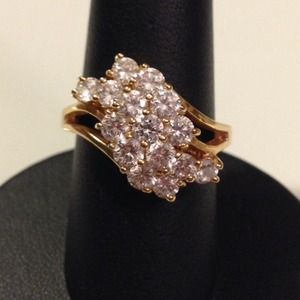 Gold vermeil waterfall cocktail ring amazing bling