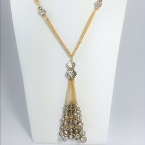 Jewelry - ⬇️⬇️️SALE HP Crystal tassel gold long necklace