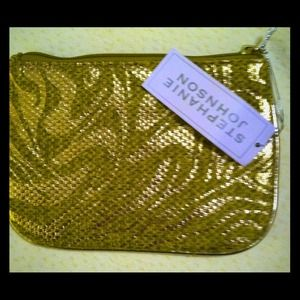 NWT Stephanie Johnson Metallic Detail Clutch/Case