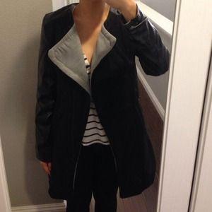 Jackets & Coats - Leather sleeves coat