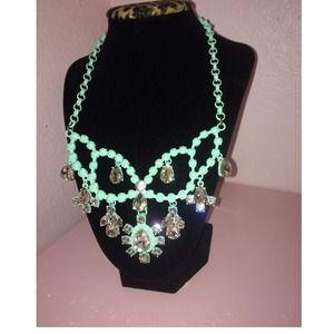 Baby blue statement necklace 
