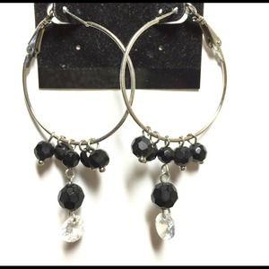 Hoop earrings w black beads & faux diamonds