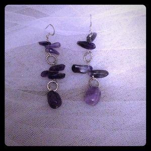Amethyst & Silver Earrings.
