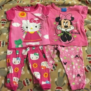 Other - Disney and Hello Kitty PJ's 12 Months