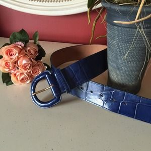 Accessories - Blue Croc Embossed Leather Belt Size Small
