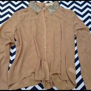 Tops - Sheer Camel Blouse with Rhinestone Collar
