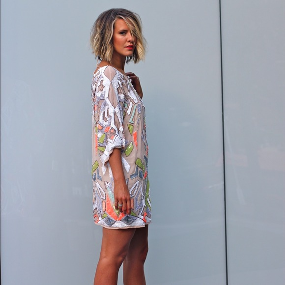 7fd7691494b2e0 ASOS Premium Geo-Tribal Embellished Tunic Dress