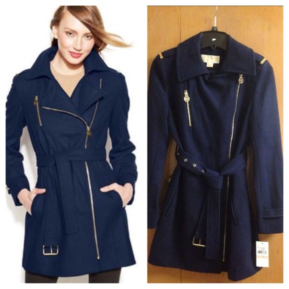 45 off outerwear nwt michael kors navy wool jacket from molly 39 s closet on poshmark. Black Bedroom Furniture Sets. Home Design Ideas