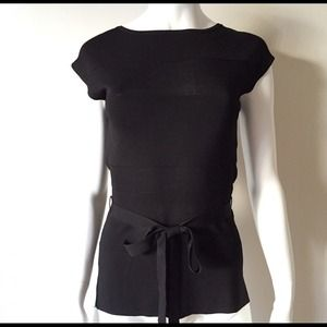 Tops - Cap Sleeve Black Top with Contrast and A Bow