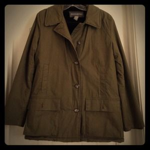 Banana Republic Twill Coat w/ Faux Fur Lining