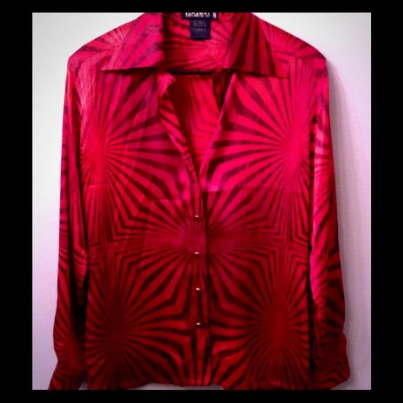 d159b066f6fcbc Escada Tops | 100 Silk Redblack Blouse Sz36 Sale Was 45 | Poshmark