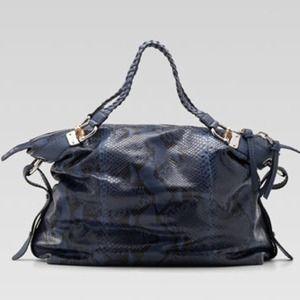 Gucci Bamboo Bar Large Shoulder Bag Blue Python