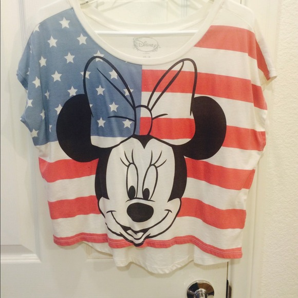 d11dae347620a Forever 21 Tops - Minnie Mouse American flag crop top