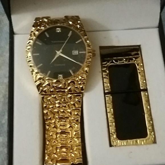 Vernier Men Gold Watch With Money Clip