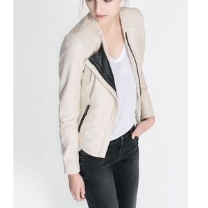 Zara White Leather Jacket