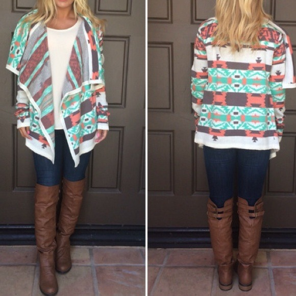 75% off B. sharp Sweaters - 🎉HP! Mint & brown aztec sweater from ...