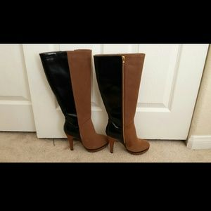 Two-Tone Knee High Boots.
