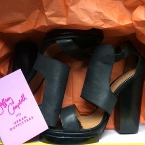 Jeffrey Campbell leather black heels