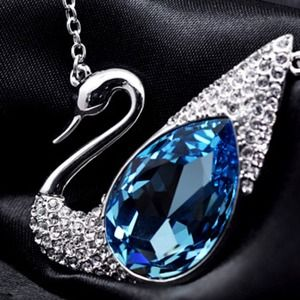 Jewelry - White Gold Crystal Swan Necklace