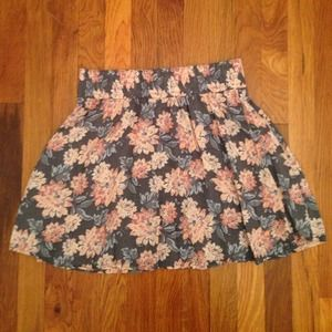 Grey & blush floral skirt