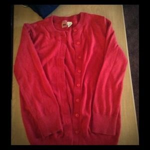 Red BP cardigan.