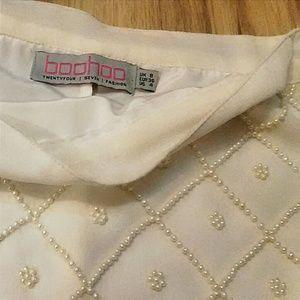 Pearl Beaded Sheer Ivory Mini Skirt