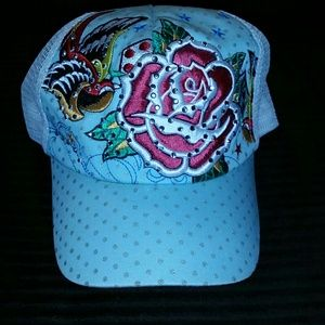 FINAL SALE-Blue Ed Hardy LIKE design Snap Back hat