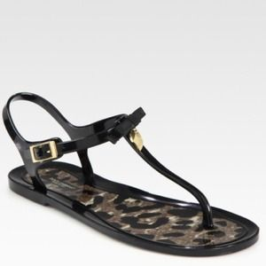 Dolce & Gabbana Black Bow Thong Sandals 11
