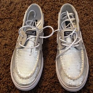 Sperry Top-Sider Shoes - Silver Sequined Sperry Bahama Top-siders