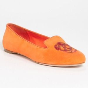Alexander McQueen Orange Sequined Skull Flat 10/40