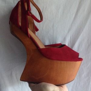 Jeffrey Campbell Shoes - Jeffrey Campbell 8.5 red suede STR8UP with box