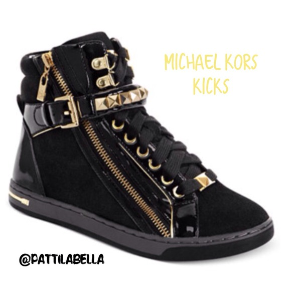 40 off michael kors shoes mk black gold sneakers nwt. Black Bedroom Furniture Sets. Home Design Ideas