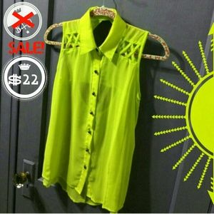SALE Neon Skull Sheer ButtonupTank Open Back